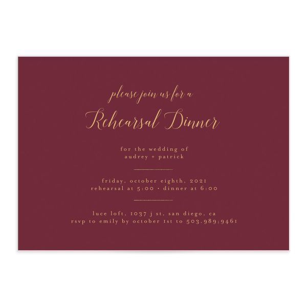 Marble and Gold Rehearsal Dinner invite in red front catalog image