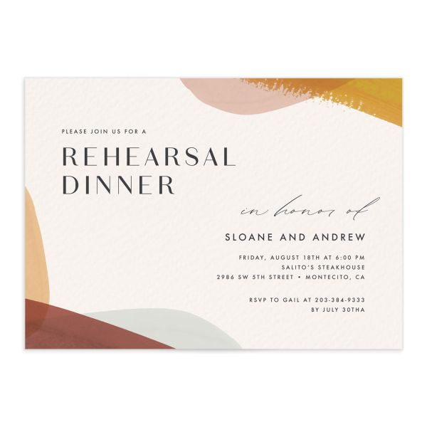 Abstract Watercolor Rehearsal Dinner Invite front in marigold