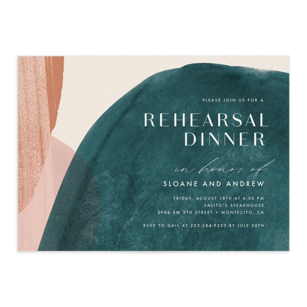 Abstract Watercolor Rehearsal Dinner Invite front in teal