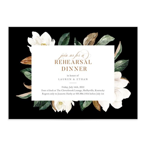 Painted Magnolia Rehearsal Invite in Black