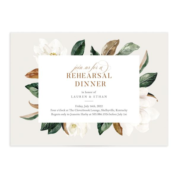 Painted Magnolia Rehearsal Invite in Grey