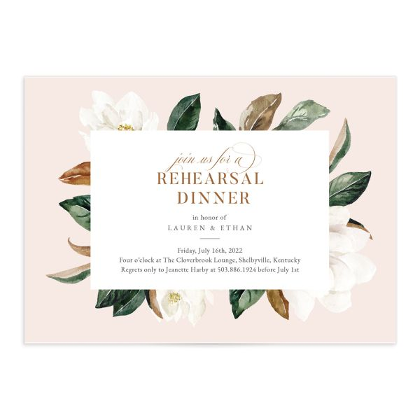 Painted Magnolia Rehearsal Invite in Pink
