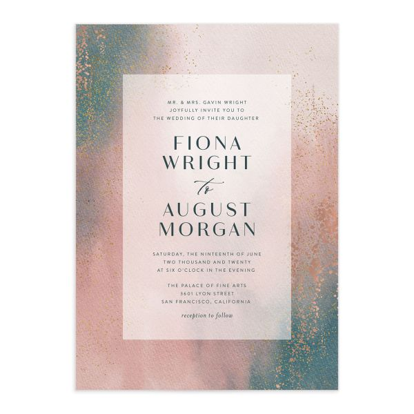 Awash wedding invitation front pink
