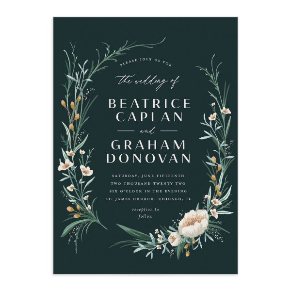 Dark Wreath wedding invitation front