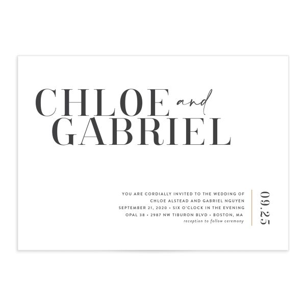 Minimal Chic wedding invitation in white
