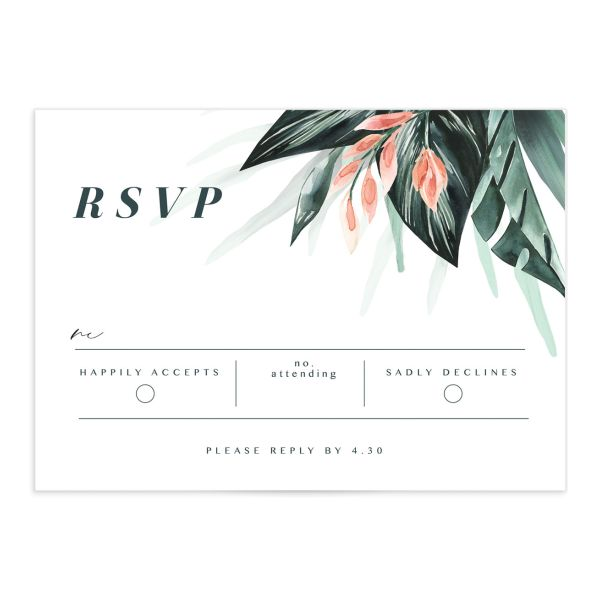 Mod Tropic wedding RSVP card front