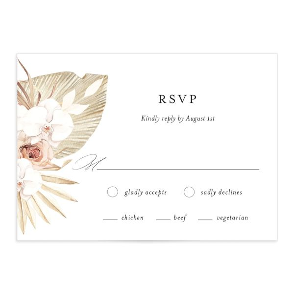 Neutral Bohemian Wedding Response Cards in pink front catalog image