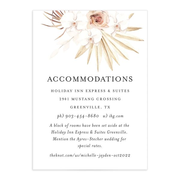 Neutral Bohemian Wedding Enclosure Card front closeup in pink
