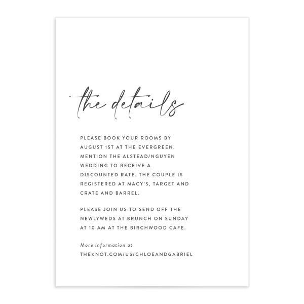 Minimal Chic Wedding Details card front closeup in white