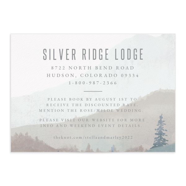 painted mountains wedding enclosure card front in blue