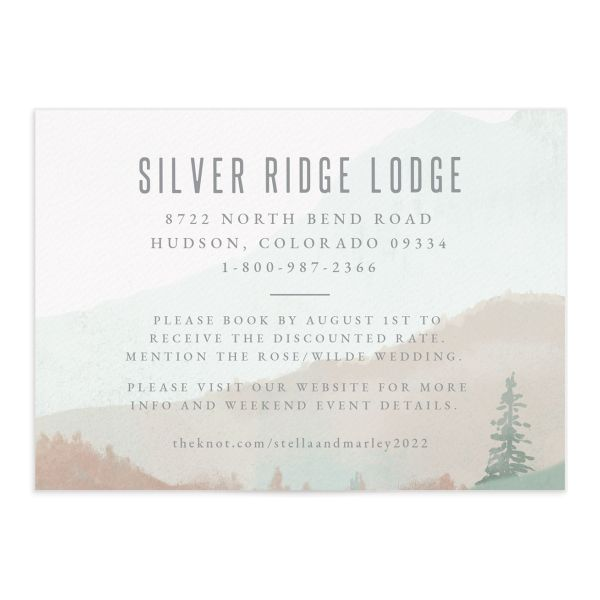 painted mountains wedding enclosure card front in green