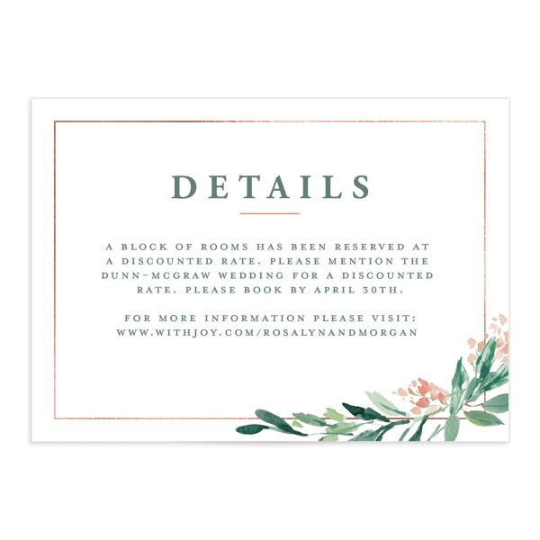 gilded botanical wedding enclosure card front in green