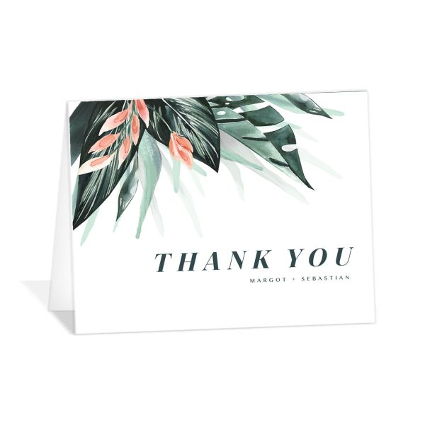 Mod Tropic wedding thank you card front