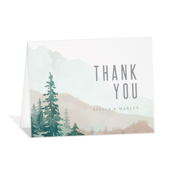 painted mountains wedding thank you card in green