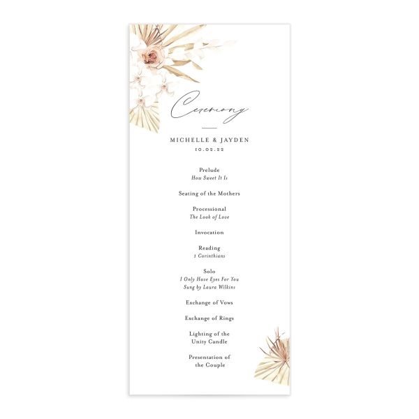 Neutral Bohemian wedding programs back in pink