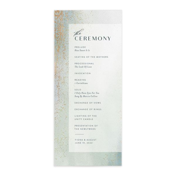 Awash wedding program front green