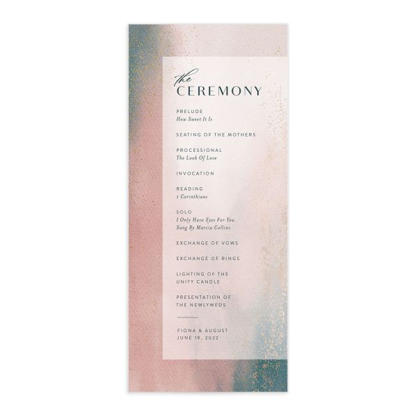 Awash wedding program front pink