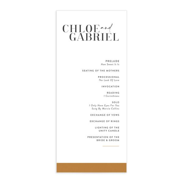 Minimal Chic Wedding Programs front in white