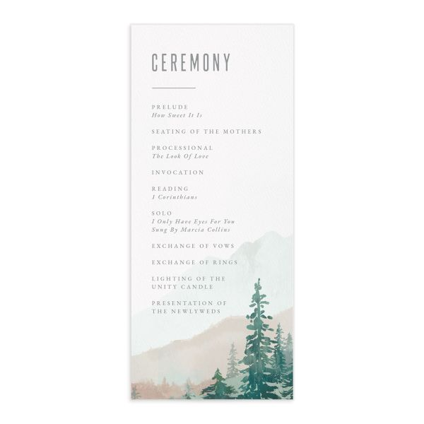 painted mountains wedding program front in green