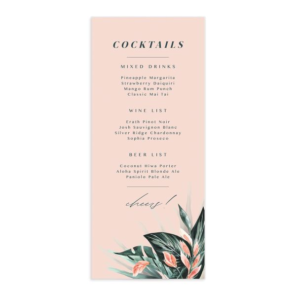 Mod Tropic wedding menu front