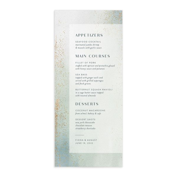 Awash wedding menu front green