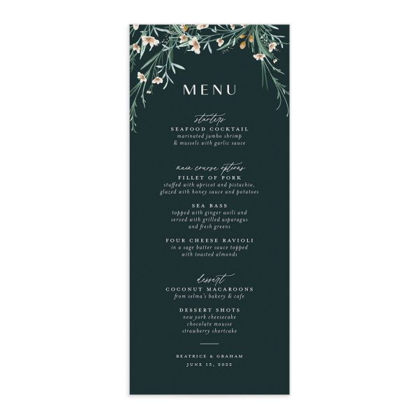 Dark Wreath wedding menu front