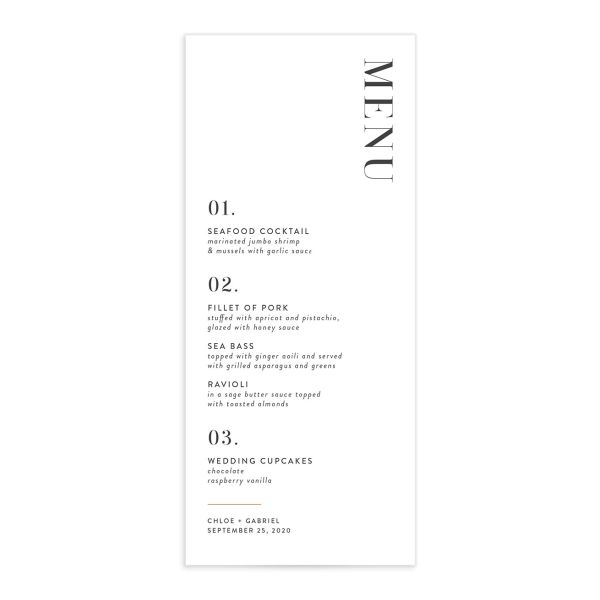 Minimal Chic Wedding Menu front catalog image in white
