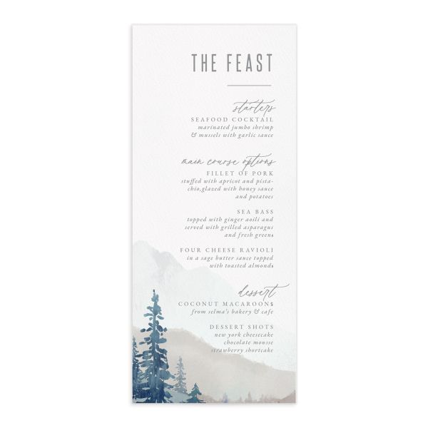 Painted Mountain wedding menu front in blue