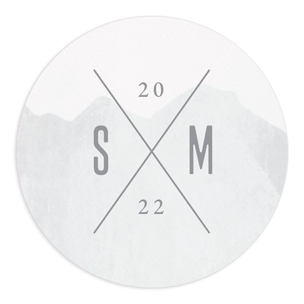 painted mountains wedding round sticker in blue