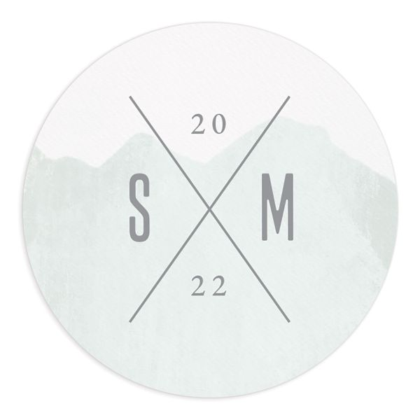 Painted Mountain Wedding Round sticker in green