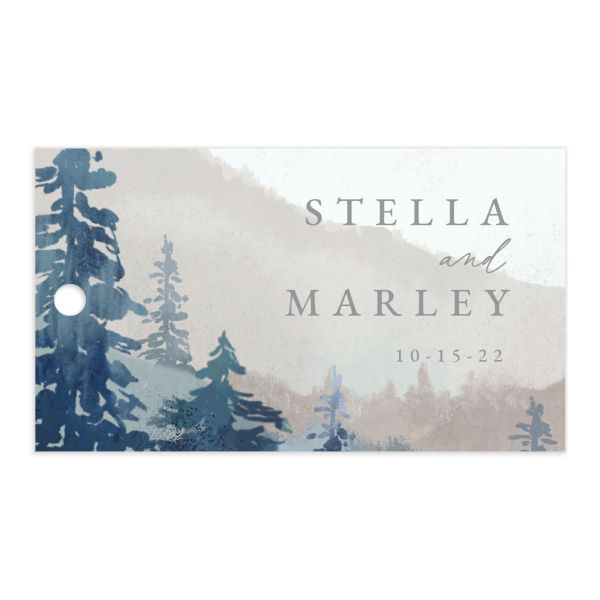 painted mountain wedding gift tag front blue