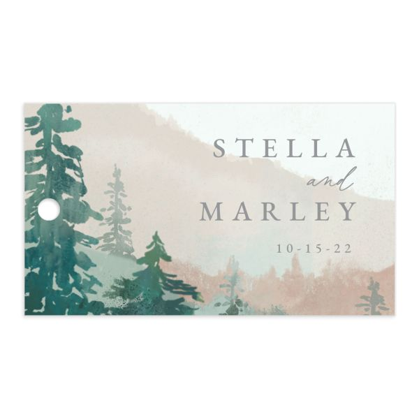 painted mountain wedding gift tag front in green