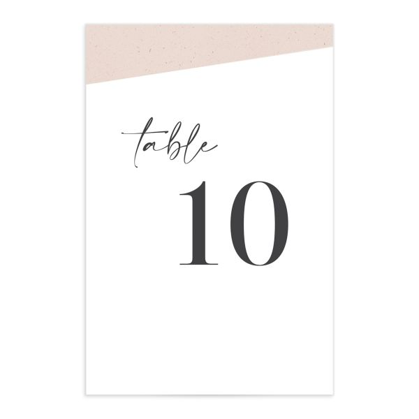 Minimal Chic Table Number Cards closeup in white