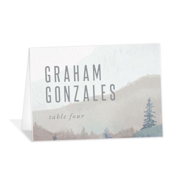 Painted mountains wedding place card in blue