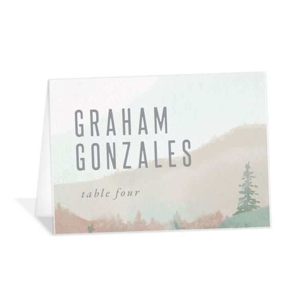 Painted Mountains wedding place card in green