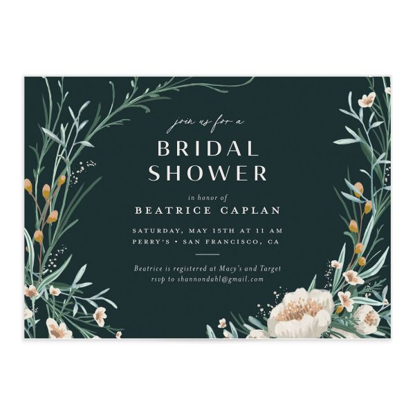 Dark Wreath bridal shower invitation front