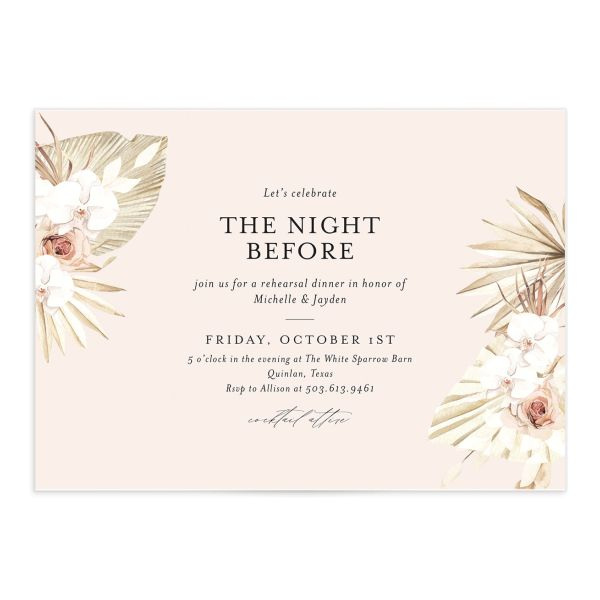 Neutral Bohemian Rehearsal Dinner invite in pink catalog image
