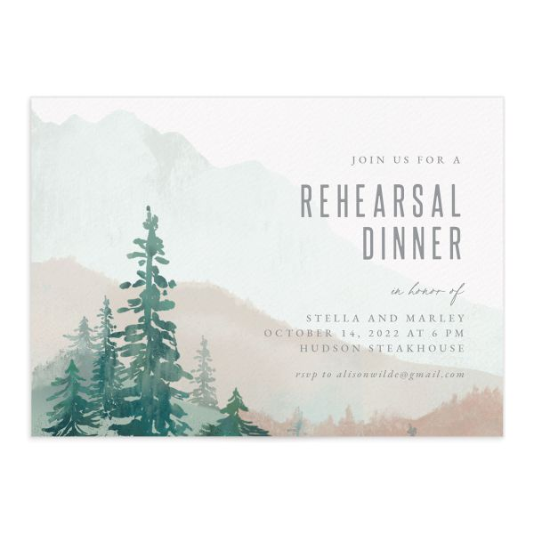 Painted Mountains rehearsal dinner invitation front in green