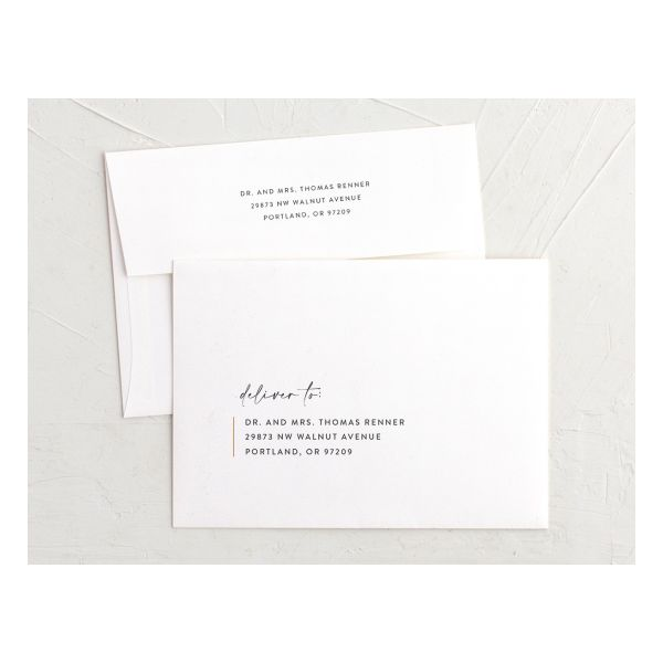 Minimal Chic printed envelopes shown in A7 size