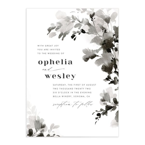 Watercolor Blooms wedding invitation front black