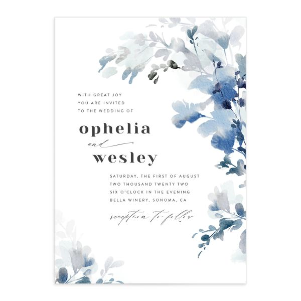 Watercolor Blooms wedding invitation front blue