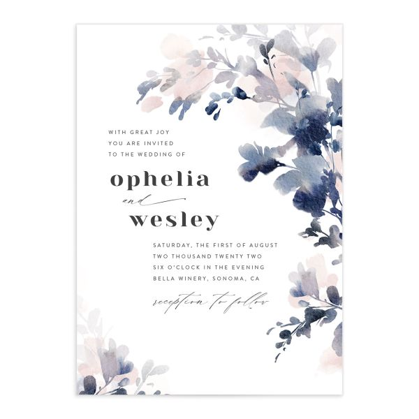 Watercolor Blooms wedding invitation front navy