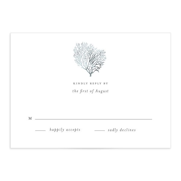 Elegant Beach RSVP card front blue