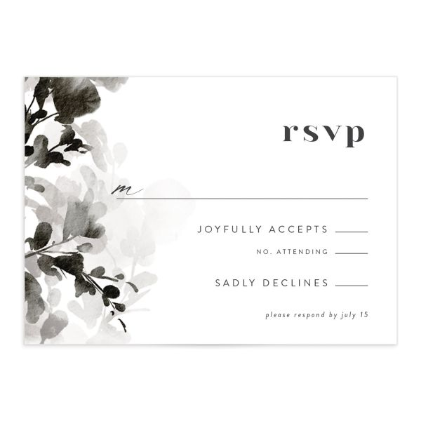Watercolor Blooms RSVP card front black
