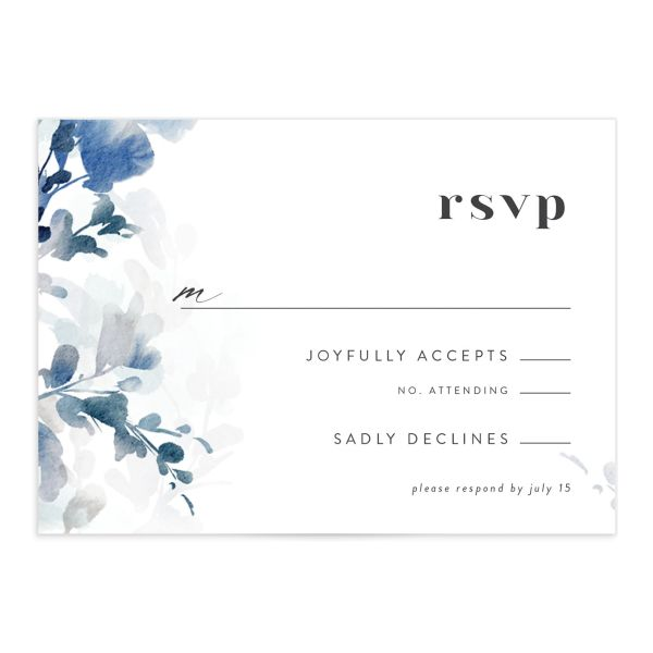 Watercolor Blooms RSVP card front blue