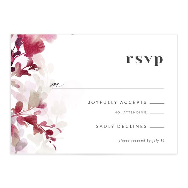 Watercolor Blooms RSVP card front burgundy
