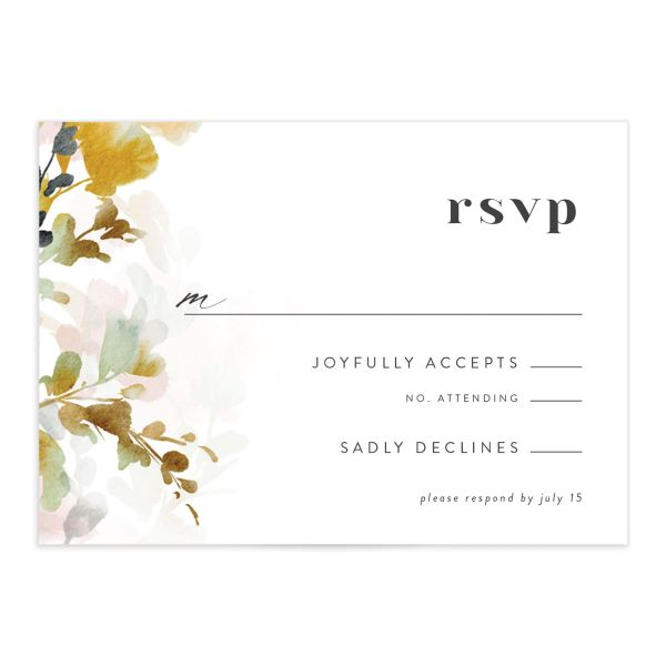 Watercolor Blooms RSVP card front gold