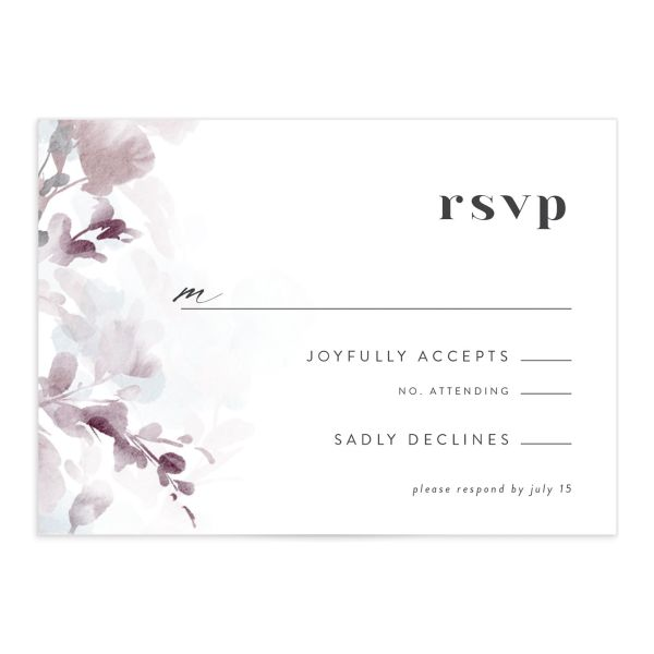 Watercolor Blooms RSVP card front gray