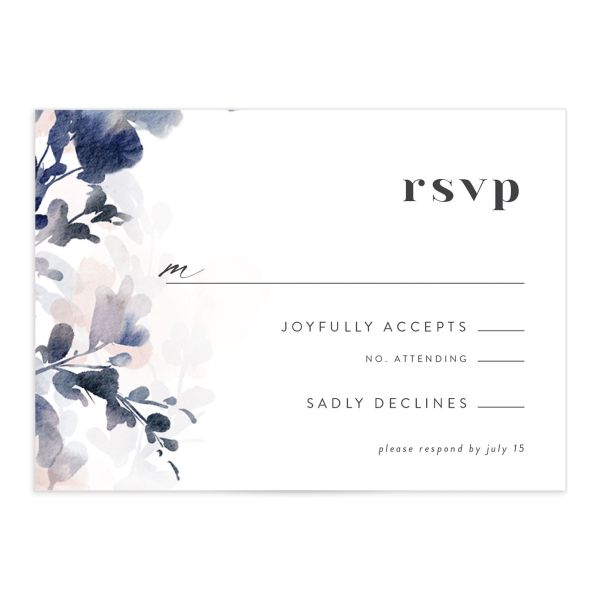 Watercolor Blooms RSVP card front navy