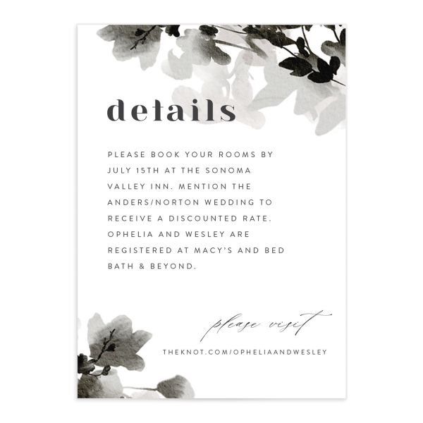 Watercolor Blooms enclosure card front black